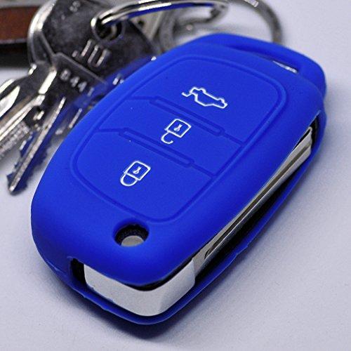Soft Case Schutz Hülle Auto Schlüssel Hyundai i10 i40 ix35 Santa Fe Sonata Tucson Klappschlüssel / Farbe: Dunkelblau