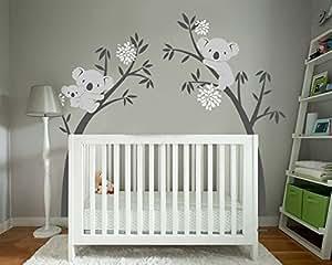 Bdecoll Wandtattoo Baum Koala Baum Wandsticker Baum Cartoon Tiere Koala Wandaufkleber Babyzimmer