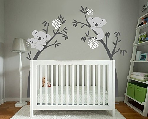 BDECOLL Wandtattoo Baum/Koala-Baum-Wandsticker/Baum Cartoon Tiere Koala Wandaufkleber/Babyzimmer Kinderzimmer Entfernbare Wandtattoos(Black branch White flower) (Koala Baum)
