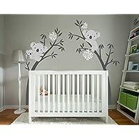 Bdecoll Vinilos decorativos/Árbol de 3 Koalas adhesivos vinilo de niños/habitación Guardería infantil Bebé decoración (blanco)