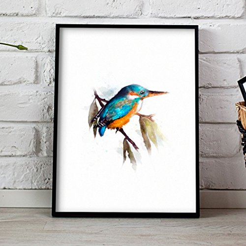 kingfisher-bird-print-watercolour-poster-beautiful-digital-hand-drawn-wall-art-original-art-print-by