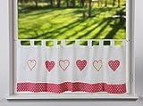 Gardinen Röttger Schlaufenpanneaux Punkte Herzen in Rot Weiß Scheibengardine