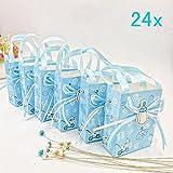 JZK 24 Azul baby shower bolsa favor niño bolsa dulce mini fiesta bolsa papel para bebé niño fiesta cumpleaños bautizo bautismo fiesta recién nacida