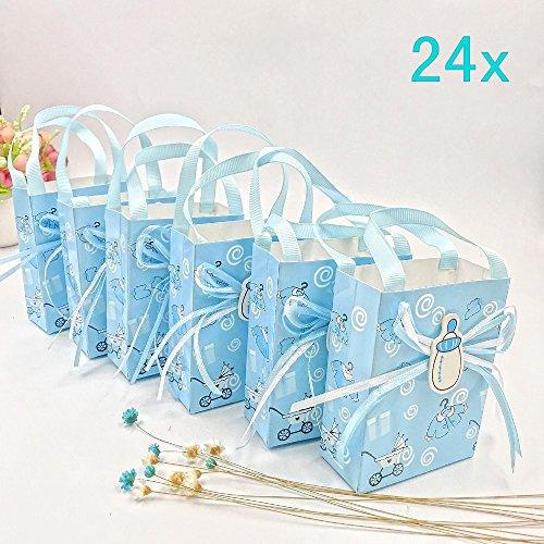 JZK 24 Blau Gastgeschenk Süßigkeiten Schachtel mit Babyflasche Muster für Baby Mädchen Geburtstag Taufe Neugeborenen Babyparty Baby Shower Kinder Party