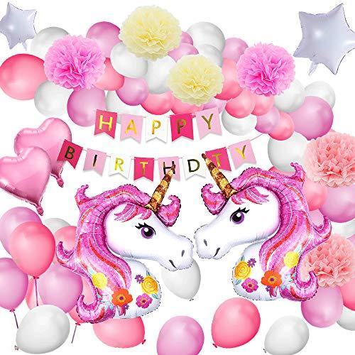 MMTX Einhorn Geburtstagsdeko Mädchen, Rosa Einhorn Party Dekorationen, Alles Gute zum Geburtstag Banner Decko für Kleinkinder Mädchen Boy Lady Birthday Party, Hochzeit (60Stück)