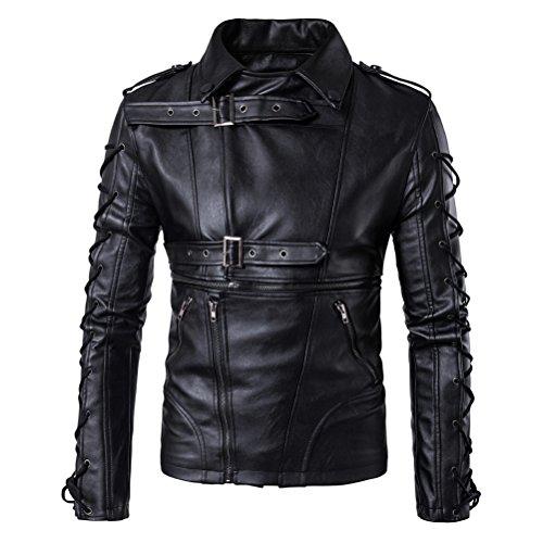 WS668 Herren PU Leder Gute Qualität Mantel Classic Kordelzug Tops Outdoor Sport Motorrad Jacken Mens Leather Jacket Schwarz