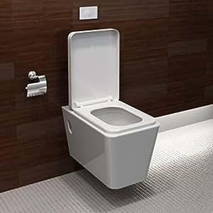 vidaXL Cuvette WC suspendue blanche avec abattant et bati-support
