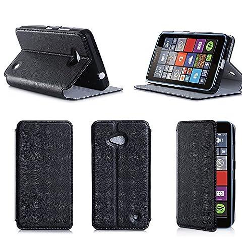 Etui luxe Microsoft Lumia 640 4G/LTE (ex Nokia) Dual Sim noir Ultra Slim Cuir Style avec stand - Housse Folio Flip Cover coque de protection Microsoft 640 noire 5 pouces - Accessoire XEPTIO