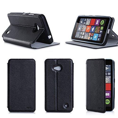 Etui luxe Microsoft Lumia 640 4G/LTE (ex Nokia) Dual Sim noir Ultra Slim Cuir Style avec stand - Housse Folio Flip Cover coque de protection Microsoft 640 noire 5 pouces - Accessoire XEPTIO case