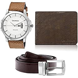 Laurels Analogue White Dial Men's Watch , Wallet & Belt Combo - Cp-Inc-601-Hrnt-09-Vt-0209