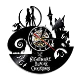 Vinyl Record Wall Clock The Nightmare of Christmas Eve Round Hollow Vinyl Material Home Decoration Clock for Kids Bedrooms, Living Room, Kitchen, Bathroom,12'',0325