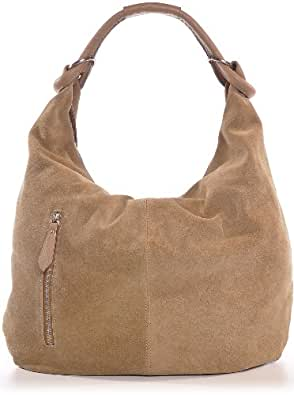 CNTMP, Damen Handtaschen, Hobo-Bags, Schultertaschen, Beutel, Beuteltaschen, Trend-Bags, Velours, Veloursleder, Wildleder, Leder Tasche, DIN-A4, 44x36x4cm (B x H x T) (Beige (Natur))