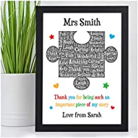 Personalised Teacher Gift - Puzzle Piece Thank You Gifts for School Teacher, TA, Nursery, Leaving Gift - Gifts for Teachers, Teaching Assistants, Nursery Teachers - ANY NAME - Teacher Appreciation