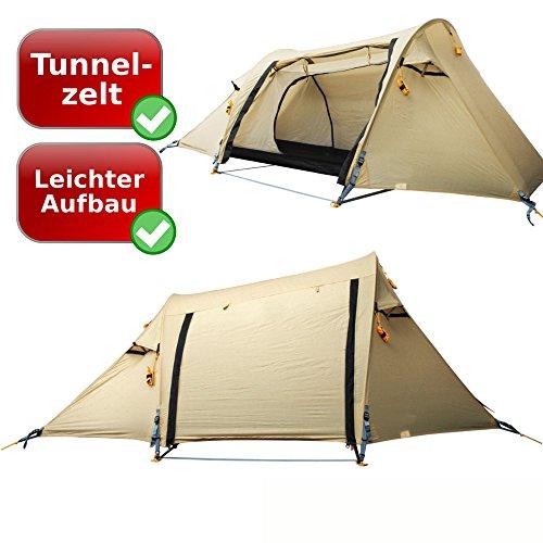 hochwertiges Profi Camping-Zelt | (weitere Auswahl!) | 1 Personen professionelles Leichtgewichts Tunnelzelt (GR1) | sand