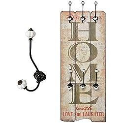 """Perchero Recibidor """"Home"""" con ganchos Madera 100 x 40 cm Estilo Shabby Vintage Alquería"""