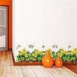 AdornHome Wandtattoo Wandsticker Wandaufkleber Wandbilder Gelber Gänseblümchen-Korridor Gang Glasschiebetür-Schlafzimmer Bett-Kopf 50 * 70CM