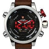Zeiger - Orologio sportivo da polso, da uomo, cinturino in pelle marrone, orologio al quarzo impermeabile, con quadrante digitale a LED