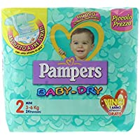 Pampers Baby Dry Couches Mini, taille 2 (3 – 6 kg), paquet de 24 couches