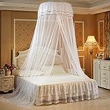 HQQ Prinzessin Moskitonetz Spitze Nordic Dome Bett Baldachin für Kinder Fliegen Insekt Schutz Indoor/Outdoor Dekorative Höhe 270 cm / 8,8 ft (Farbe : Weiß)