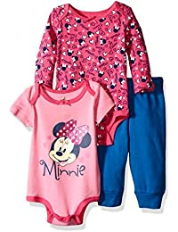Disney Baby Girls 3-Piece 2 Minnie Mouse Bodysuits with Pant Set