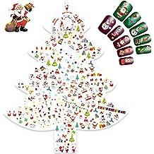 Navidad 3D Nail Art Stickers Calcomanías (12 Hojas), Navidad Papá Noel Reno Copo