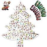 Navidad 3D Nail Art Stickers Calcomanías (12 Hojas), Navidad Papá Noel Reno Copo De Nieve Pegatina uñas Calcomanías autoadherentes Nail Art Decoración DIY Etiqueta