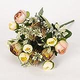7 ramo da Bouquet di seta fiori artificiali rosa Rosebud con le foglie per la decorazione d'interni, Champagne