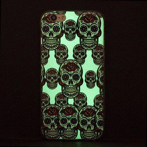 Cover iPhone 5 5S SE, E-Unicorn Custodia Apple iPhone 5 5S SE Silicone Nottilucenti Luminoso Cover Piuma Campanula Acchiappasogni Disegni TPU Gomma Morbida Ultra Slim Bumper Case Retro Elegante Modell Teschio