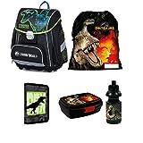 Dinosaurier Dino 5 Teile Set Schulranzen RANZEN FEDERMAPPE Tasche TORNISTER + Sticker von Kids4shop