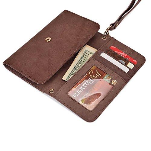 Kroo véritable cuir téléphone portable d'embrayage pour Sony Xperia C4Dual violet violet Tan
