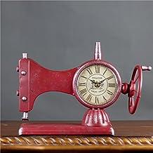 LYQZ Relojes de Pared 9cm máquina de Coser decoración del hogar Estilo Retro Mute Grande dial