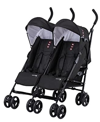 Knorr-baby 832100 Side by side Carrito doble de hermanos, negro