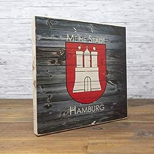 elbPLANKE - Meine Stadt Hamburg - WOOD | 20x20 cm | Holzbild von Fotoart-Hamburg | 100% Handmade aus Holz (Kiefer/Fichte)