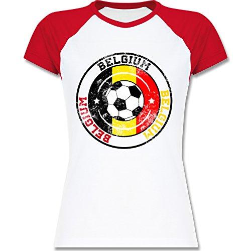 EM 2016 - Frankreich - Belgium Kreis & Fußball Vintage - zweifarbiges Baseballshirt / Raglan T-Shirt für Damen Weiß/Rot