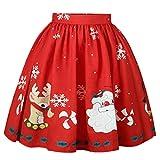 YWLINK Damen Weihnachtsrock Weihnachtsmann Schneeflocke Druckt Rock In A Linie(XL,Rot)