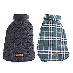 Imported Dog Waterproof Reversible Plaid Jacket Coat Winter Warm Clothes Green XXXL