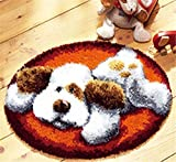Knüpfkissen Latch Hook Kit Rug Playful Dog Diameter 50 cm