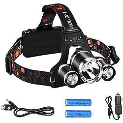 AIQI 6000 Lúmenes Linterna Frontal, 2 Baterías, 3 LED, 4 Modos, Hasta 500 metros