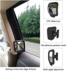 2PCS Blind Spot Mirror 270° Adjustable Convex Mirror - HD Wide Angle Auto Mirrors - Car Rear Seat Rearview View Mirror