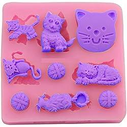 Molde de silicona con El Molde de gatos y bolas. Para la pasta de azúcar, fundentes, etc para uso alimentario de DIY. gato bola