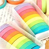 TaoNaisi Washi Tape DIY Washi Rainbow Candy Farbe Wandtattoo Aufkleber Klebeband scrapbooking Telefon Dekoration DIY 10 x Roll