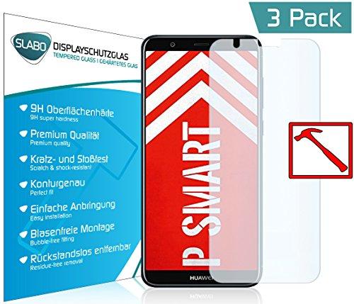 Slabo 3 x Premium Panzerglasfolie für Huawei P smart Panzerfolie Schutzfolie Echtglas Folie Tempered Glass KLAR 9H Hartglas