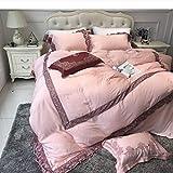 yyygg Tencel Luxury Embroidered Perfect Lady Bettwäsche-Set Seidig Glatte Bettbezug-Set Bettlaken Kissenbezüge 200x200cm