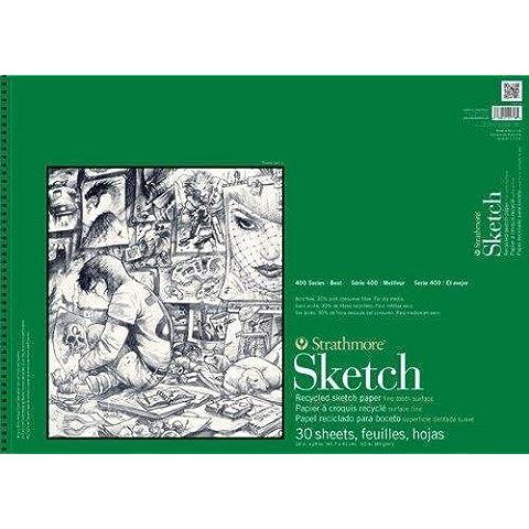 Strathmore ST457-18 de 18 pulgadas x 24 pulgadas de la serie 400 Cable Bound Reciclado Sketch Pad - 30 hojas