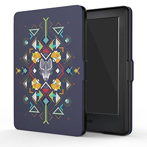 MoKo Étui de protection pour Kindle (8ème génération - modèle 2016) - étui Flip en cuir super fin et léger avec Auto Réveil / Veille pour Amazon Toute nouvelle Liseuse Kindle, Noir Z-Wolf Totem