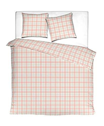 Aminata Kids - Fein-Biber-Bettwäsche-Set 220-x-240 cm Karo-Motiv kariert-e-s Muster 100-% Baumwolle Weiss-e rosa -