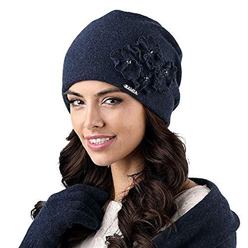 Kamea Andora Dame Mütze Herbst Winter Kopfbedeckung Elegant, Dunkelblau,Uni