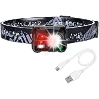 LED Headlamps Rechargeable, Akale USB LED Head Torch with 1200mAH Battery, 5 Modes, White & Red LEDs, 150LM, Water Resistant, Great for Running, Camping, Hiking & Fishing, USB Cable Included