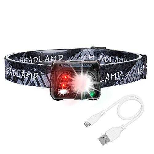 Torcia Lampada Frontale LED, Akale USB Ricaricabile Lampada testa a LED con 1200mAh Batteria, 5 Modalità, 150LM, Perfetta per Correre, Camminare, Leggere, fare Campeggio o Arrampicata