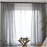 Cystyle 1er Gardinen Vorhänge transparent Leinen Optik mit Kräuselband, Vorhang Voile Fensterschal Dekoschal für Wohnzimmer Kinderzimmer Schlafzimmer (130 x 220 cm, Grau)